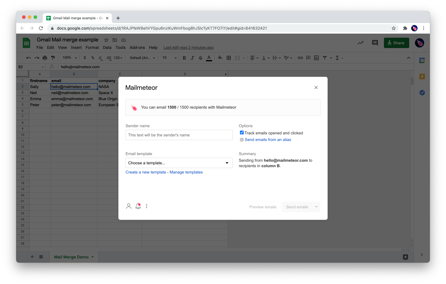 Mailmeteor add-on to mail merge in Google Sheets